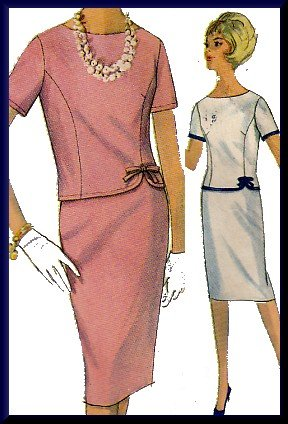 Sophisticated 2-Piece 60s Dress Sz 12 Simplicity Sewing Pattern 4923 Elegant Princess Seams Bow Trim