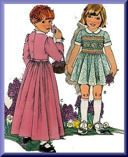 Girls' Charming Smocked Hippy Dress Sz 6x Vogue Sewing Pattern 1615 Peter Pan Collar Puffy Sleeves
