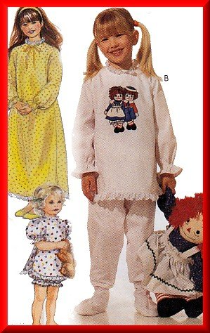 Girl's Old-Fashioned Pajamas Nightgown Sz XS McCall's Sewing Pattern 7749 Raggedy Ann Nightie