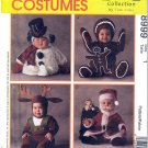 Baby's Festive Christmas Halloween Costumes Sz 1 McCall's Sewing Pattern 8999 Santa Reindeer Snowman