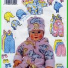 Babies' Reversible Hood Fleece Jacket Sz NB-M Butterick Sewing Pattern 5713 Overalls Pants Mittens