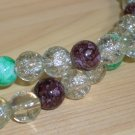 Purple Jade and Ice Matinee Necklace Lovely Clear Crackled Round Glass Beads Marbelized Green Plum