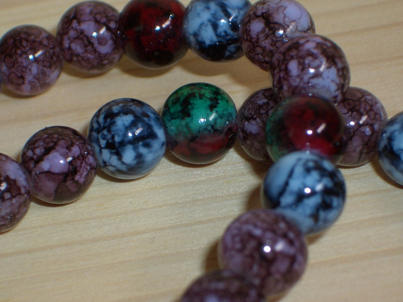 Boho Chic Abstract Matinee Necklace Round Glass Beads Stylish Marbelized Green Blue Purple Plum Red