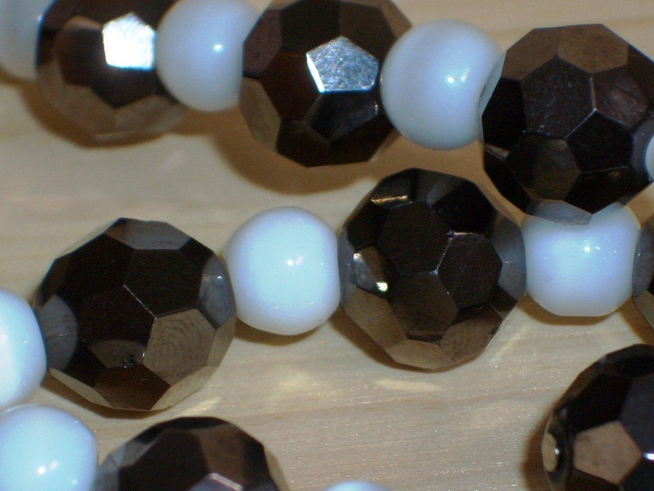 Black and White Mod Princess Necklace Chic Smokey Grey Hematite Disco Ball White Round Glass Beads