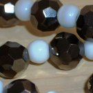Black and White Mod Princess Necklace Chic Smokey Grey Hematite Disco Ball White Round Glass Beads