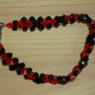 Alluring Ladylike Shiny Woven Bracelet Black Red Faceted Glass Beads Fancy Dressy Evening Flirty