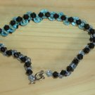 Dainty Elegant Fancy Woven Bracelet Black Aqua Ice Blue Faceted Glass Beads Dressy Stylish Shiny