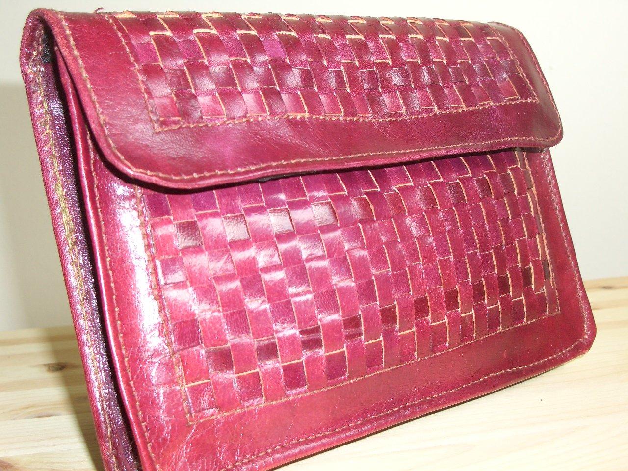 Burgundy Wine Woven Leather Clutch Purse Handbag Stylish Basket Weave Envelope Pocketbook Coin Purse