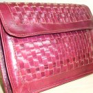 Burgundy Wine Woven Leather Clutch Purse Handbag Stylish Basket Weave Envelope Pocketbook Coin Purse