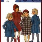 Formal Girls' Wool Coat Hat Sz 2-4 Style Sewing Pattern 3967 Beret Hood Tucks Collar Dressy Coat