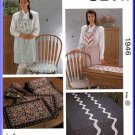 Cottage Cozy Home Dec Accessories Kwik Sew Sewing Pattern 1946 Apron Placemat Tablecloth Cushions