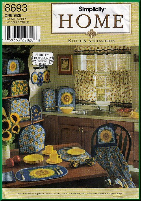 Sunflower Home Dec Kitchen Accessories Simplicity Sewing Pattern ...