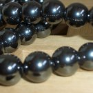 Chunky Hematite Pearls Princess Necklace Mod Smokey Grey Large Round Hematite Beads Stylish Elegant