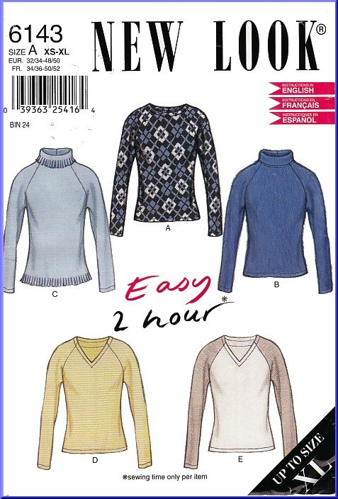 New Look Sewing Pattern 6143 Sz XS-XL Easy 2 Hour Stretch Knit ...
