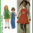 Simplicity Sewing Pattern 7857 Sz 4 Retro Child's Bib Apron Front Jumper Overalls Ruffles Embroidery