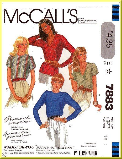 McCall's Sewing Pattern 7883 Sz 16 Vintage Misses' Pullover V-Neck Round Neck Top Button Shoulder