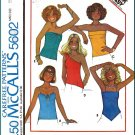 McCall's Sewing Pattern 5602 Sz S Vintage Misses' Knit Summer Tops Strapless Handkerchief Camisole