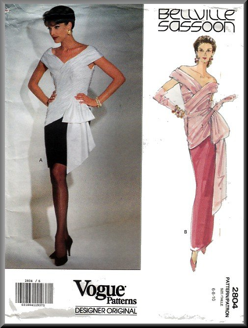 Vogue Sewing Pattern 2804 Sz 6-10 Bellville Sassoon Draped Pleated Evening Gown Fitted Fancy Dress