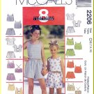 McCall's Sewing Pattern 2206 Sz 7-10 Girls' Summer Top and Shorts Cute Cropped Tank Elastic Bottoms