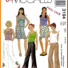 McCall's Sewing Pattern 3194 Sz 7-10 Girls' Tank Top Short Mini Skirt Ruffles Trendy Flared Pants