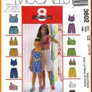 McCall's Sewing Pattern 3602 Sz 12-16 Girls' Halter Cropped Tank Tops Shorts in 2 Lengths Beach Wear