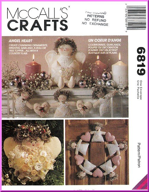 McCall's Sewing Pattern 6819 O/S Christmas Ornaments Angels Hearts Wreaths Garland Doll Tree Topper