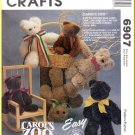 McCall's Sewing Pattern 6907 O/S Furry Stuffed Animal Toys Bear Rabbit Lamb Child's Playtime Dolls
