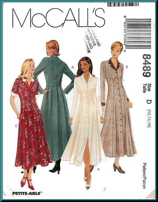 McCall's Sewing Pattern 8489 Sz 12-16 Misses' Princess Seams Dress Notched Collar Button Front Cuffs