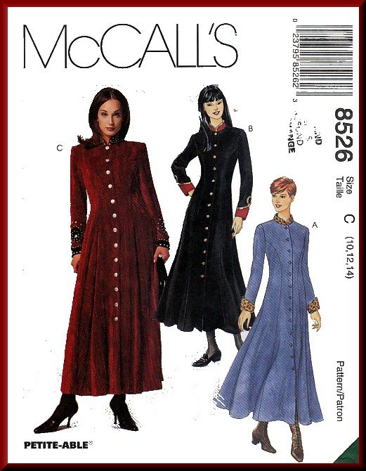 McCall's Sewing Pattern 8526 Sz 10-14 Misses' Military Look Flared Dress Princess Seams Button Front