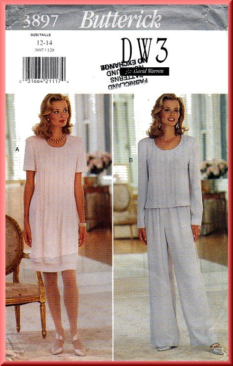 Butterick Sewing Pattern 3897 Sz 12-14  Misses' Pin Tuck Pleats Dress Top Wide Legged Pull-on Pants