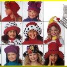 Butterick Sewing Pattern 3592 Sz S-L Children's Cute Fun Funky Hats Fleece Fur Caps Contrast Fabrics