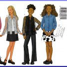 Butterick Sewing Pattern 6734 Sz 12-16 Girls' Stylish Blouse Mini Skirt Boot Legged Pants Tank Top