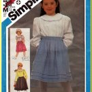Simplicity Sewing Pattern 6558 Sz 6 Retro Girls' Puffy Wrap Blouse Yoke Collar Pleated Wrap Skirt
