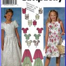 Simplicity Sewing Pattern 7106 Sz 7-10 Girls' Fancy Two-Piece Dress Princess Top Full Gathered Skirt