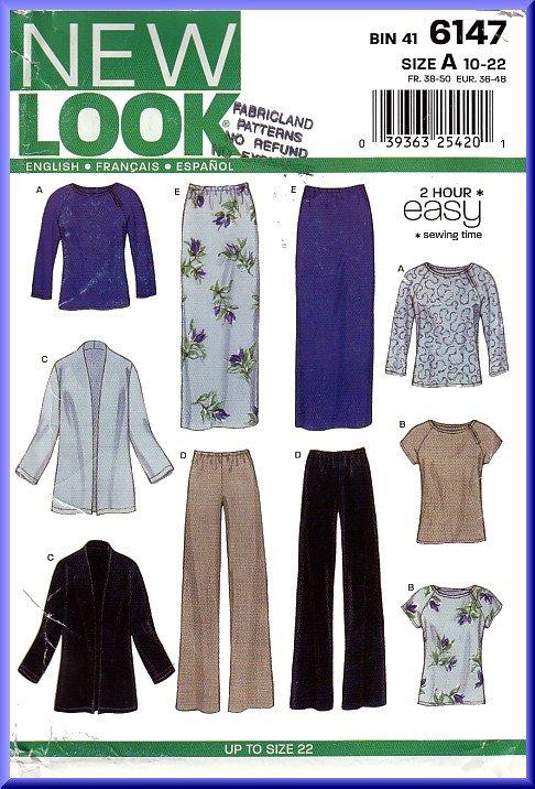 New Look Sewing Pattern 6147 Sz 10-22 Misses\' Easy Raglan Tops ...