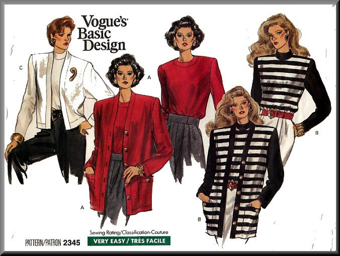 Vogue Sewing Pattern 2345 Sz 14-18 Retro 80s Misses' Knit Cardigan Jackets Long Sleeve Tops Twinset