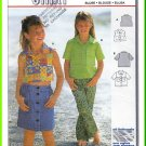 Burda Sewing Pattern 2757 Sz 3-8 Girls' Casual Cropped Blouse Sleeveless Short Sleeves Button Front