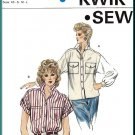 Kwik Sew Sewing Pattern 1383 Sz XS-L Misses' Oversized Blouse Boxy Baggy Button Front Shirt Cuffs