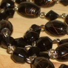 "Black Beaded Dangling Lariat Necklace Faceted Oval Glass Beads 22"" Long Matinee Length"