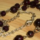 "Plum Beaded Dangling Lariat Necklace Dark Purple Glass Beads 20"" Long Matinee Length Silver Chain"