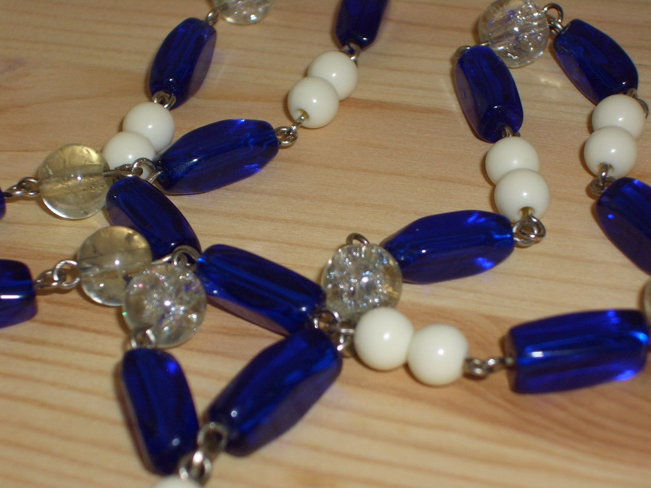 """Cobalt Blue Bohemian Chic Necklace Clear White Blue Beads Dangling Charm 22.5"""" Beaded Matinee Length"""
