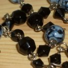 "Black Navy Blue Marble Lariat Necklace Round Faceted Glass Beads Dangling Charm 22.5"" Matinee Length"
