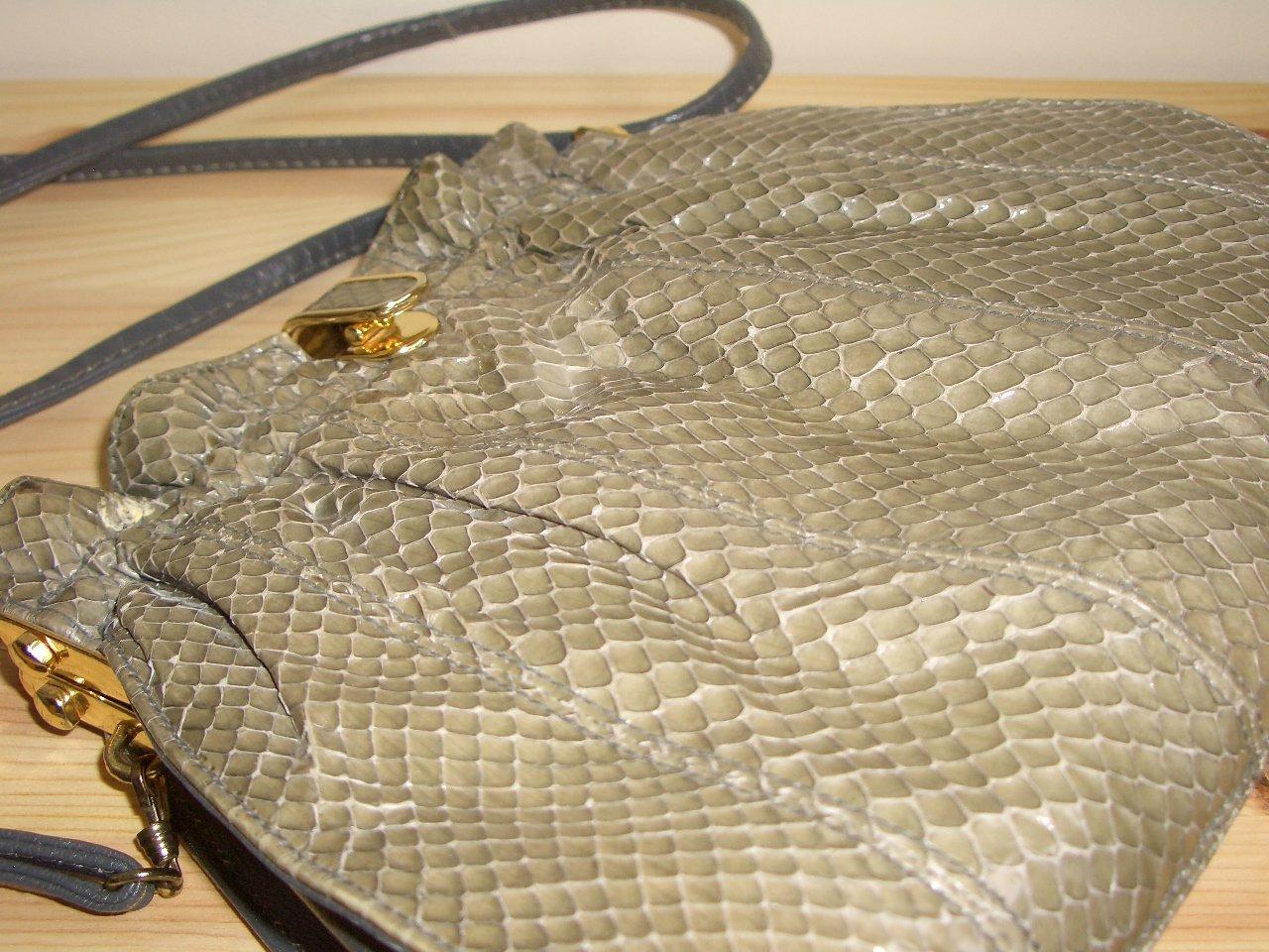 Retro 80s Grey Snakeskin Ruched Purse Vintage Mastercraft Gathered Glam Clutch Handbag Crossbody Bag