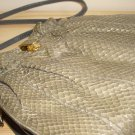 Retro 80s Grey Snakeskin Ruched Purse Vintage Mastercraft Gathered Glam Clutch Handbag Crossbody Bag