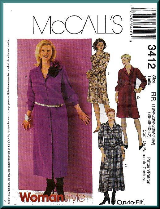 McCall's Sewing Pattern 3412 Plus Size 18W-24W Women's Shirtdress 4 Styles Shirtwaister Button Front