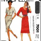 Vintage McCall's Sewing Pattern 7001 Sz 14 Misses' Dress Easy Knit Button Front Short Long Sleeves