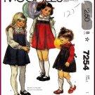 Vintage McCall's Sewing Pattern 7254 Sz 1 Girls' Short Dress Jumper Pleat Lace Trim Bodice Tie Belt