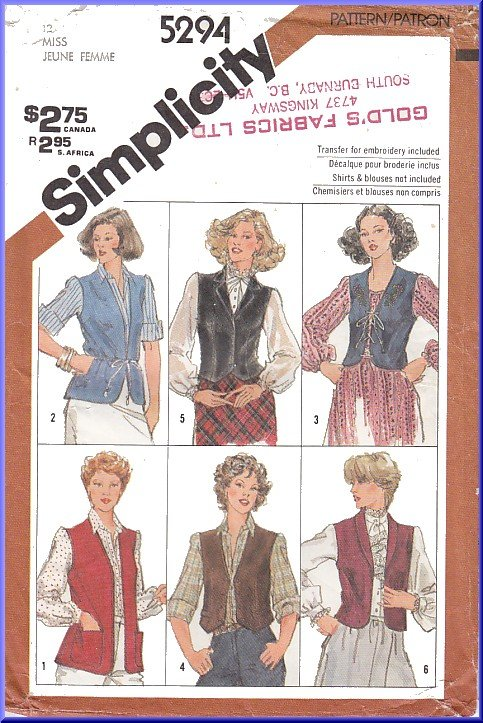 Vintage Simplicity Sewing Pattern 5294 Sz 12 Misses' Set of Vests Waistcoat Lined Unlined Embroidery