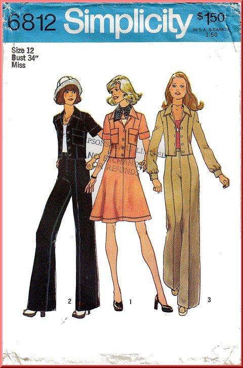 Vintage Simplicity Sewing Pattern 6812 Sz 12 Misses' Jacket Pants Skirt Notch Collar Patch Pockets