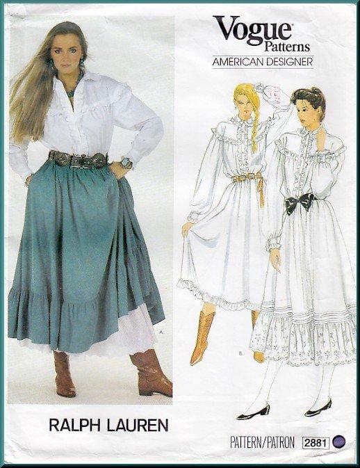 Vintage Vogue Sewing Pattern 2881 Sz 8 Misses' Boho Prairie Blouse Skirt Dress Ruffles Ralph Lauren